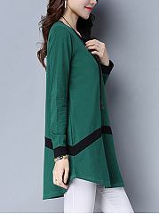 Color Block Curved Hem Long Sleeve T-Shirt