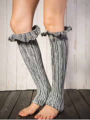 Flounce Knit Striped Leg Warmers