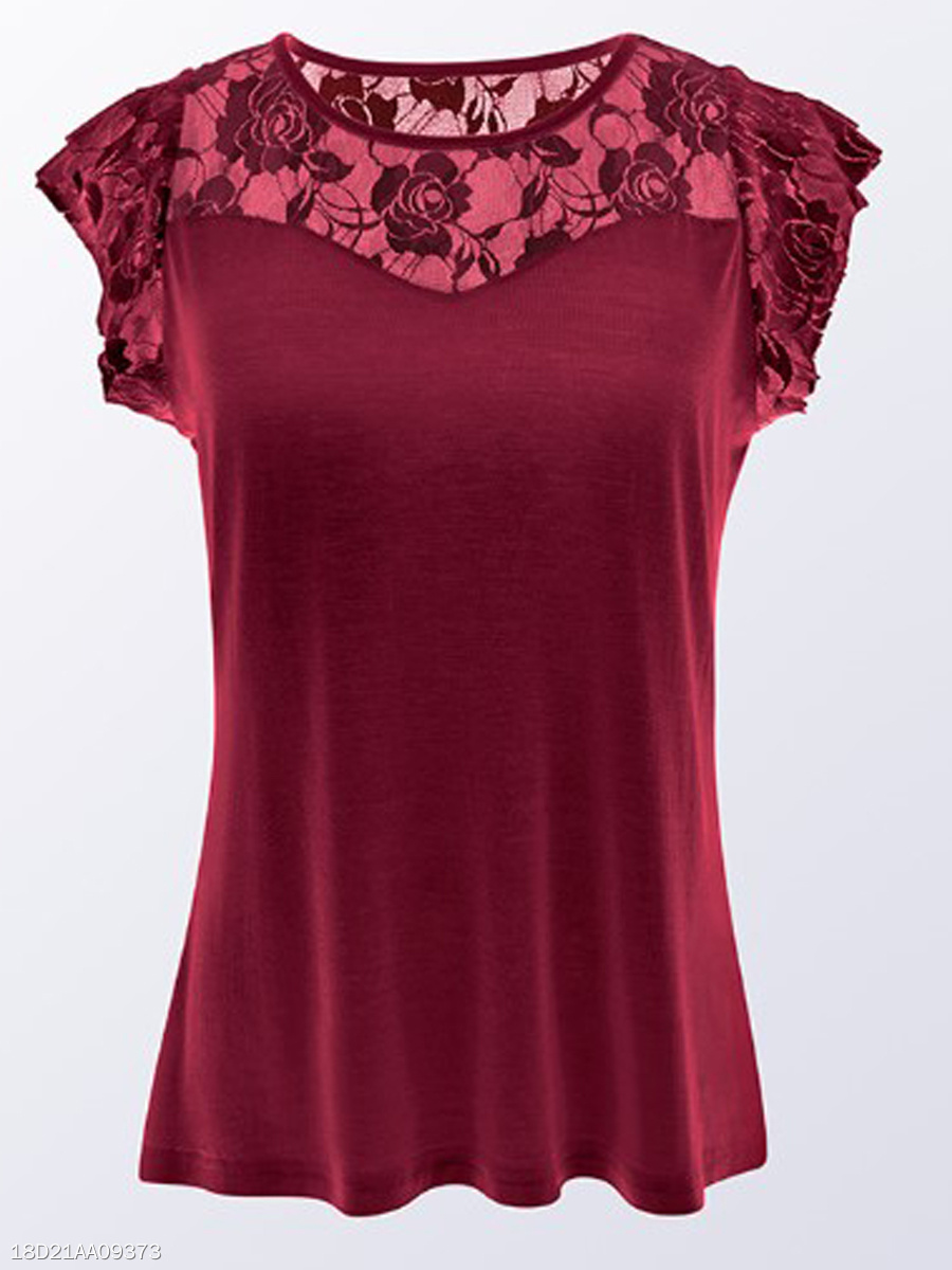 Summer  Cotton  Women  Round Neck  Decorative Lace See-Through  Plain Short Sleeve T-Shirts