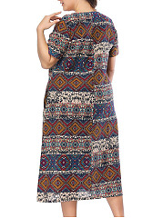 Round Neck  Patchwork  Abstract Print Plus Size Midi & Maxi Dresses