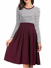 Casual-Round-Neck-Striped-Skater-Dress