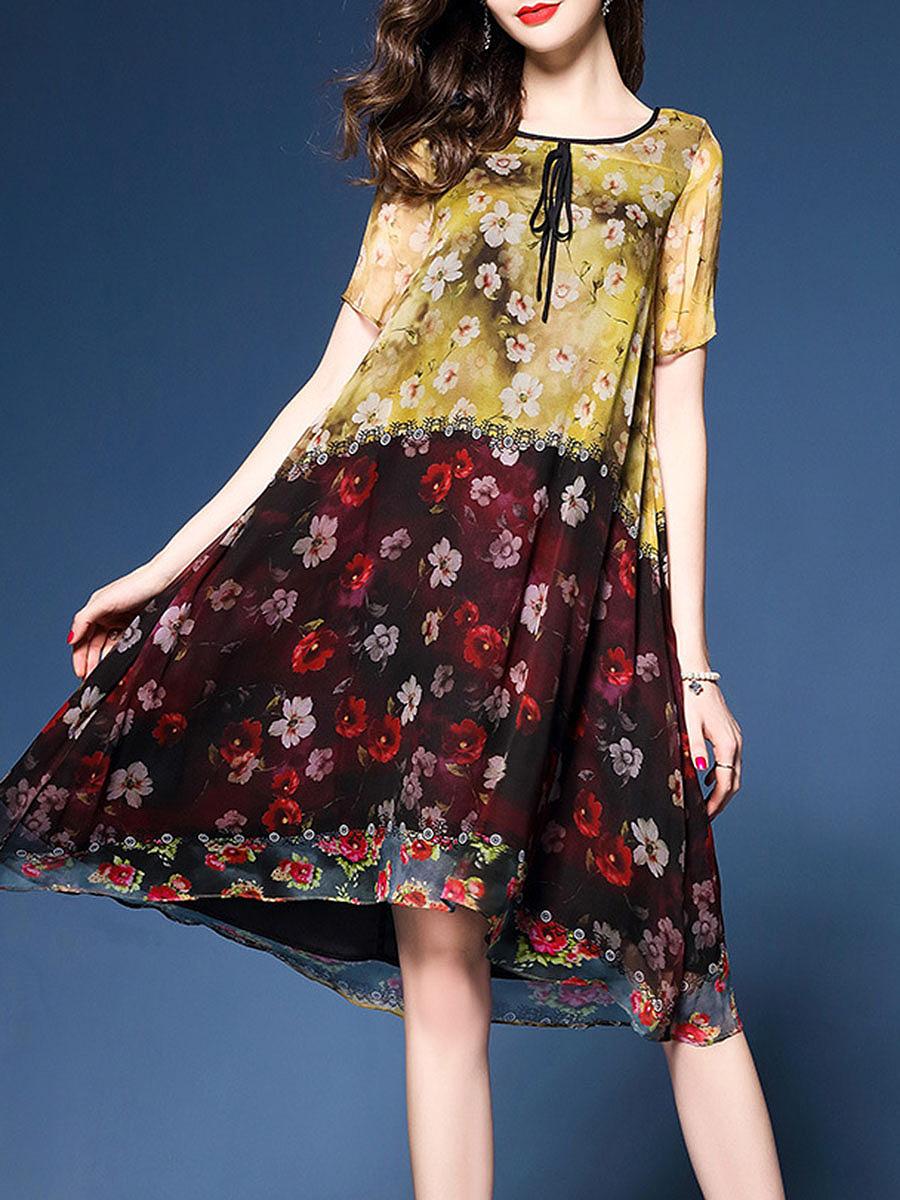 Round Neck  Printed  Chiffon Shift Dress