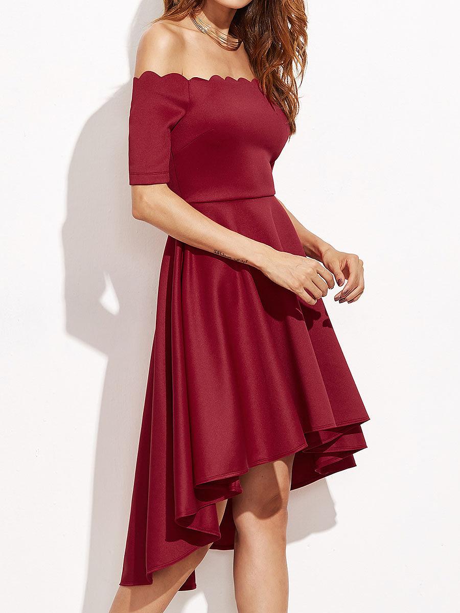 Scalloped Off Shoulder Plain High-Low Skater Dress