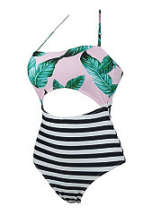 Printed Stripped One Piece