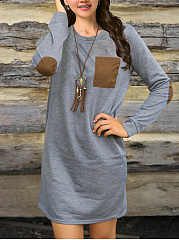 Round Neck  Patch Pocket  Color Block Casual Shift Dress