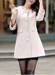Single Breasted Pocket Woolen Plain Coat