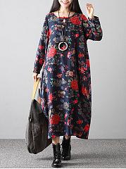 Round-Neck-Side-Slit-Floral-Printed-Maxi-Dress