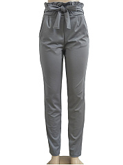 Bowknot  High Stretch  Plain  Pegged  High-Rise Casual Pants