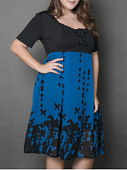 Square Neck Patchwork Color Block Plus Size Flared Dress