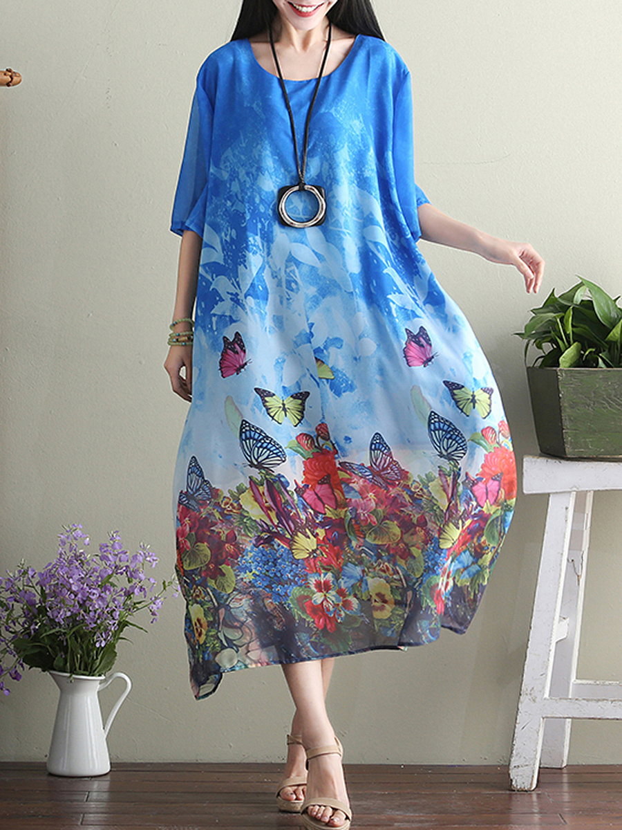 Round Neck Floral Butterfly Printed Chiffon Maxi Dress