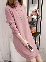 Band Collar Knit Plain Shift Dress