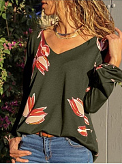 Polyester  V-Neck  Abstract Print Printed  Long Sleeve Long Sleeve T-Shirts
