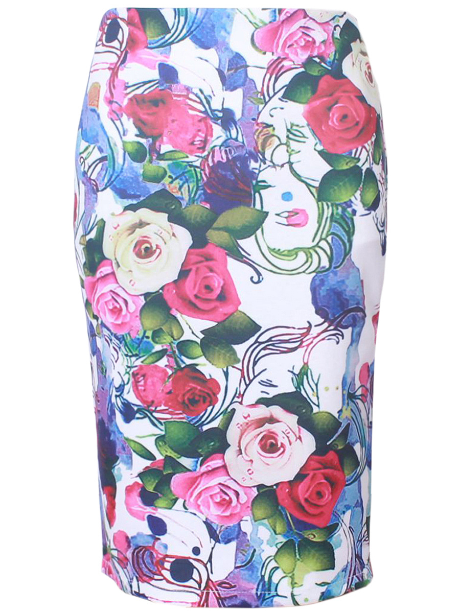 Printed Pencil Chic Midi Skirt