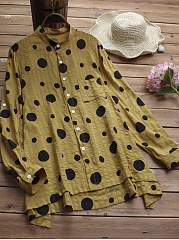 Round Neck  Single Breasted  Polka Dot Shift Dress