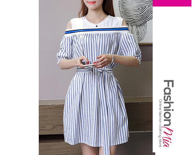 Open Shoulder  Patchwork  Belt Contrast Piping Fake Two-Piece  Color Block Striped Skater Dress