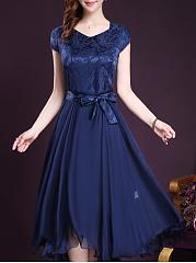 Summer-Women-Solid-Bowknot-Long-Dress