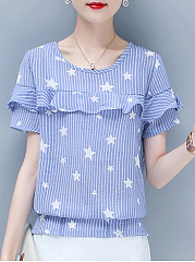 Summer  Cotton  Women  Star  Short Sleeve Blouses