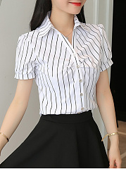 Summer  Polyester  Women  Turn Down Collar  Striped  Short Sleeve Blouses