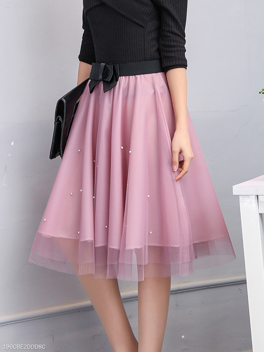 Beading Bowknot  Hollow Out  Flared Midi Skirt