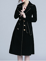 Lapel  Contrast Trim Double Breasted  Belt  Plain  Long Sleeve Coats