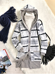 Hooded  Patch Pocket Geometric Striped Fleece Lined Cardigans