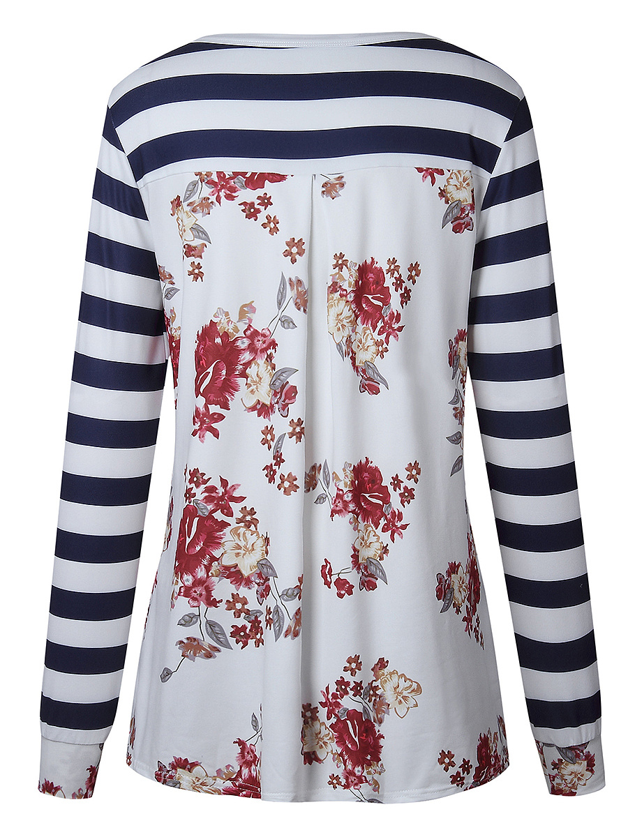 Floral Striped Round Neck Long Sleeve T-Shirt