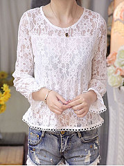 Autumn Spring  Lace  Women  Round Neck  Plain  Bell Sleeve  Long Sleeve Blouses