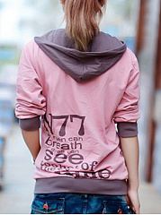 Kangaroo Pocket Color Block Letters Hoodie