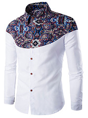 Stylish Printed Turn Down Collar  Men Shirts