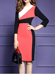 Crew Neck  Color Block  Blend Bodycon Dress
