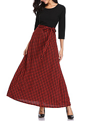 Round Neck  Bowknot  Plaid Maxi Dress