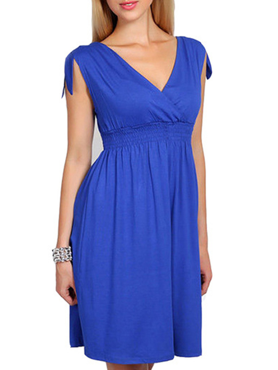 V-Neck  Elastic Waist  Plain Skater Dress
