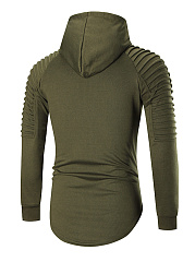 Plain Ripped Kangaroo Pocket Curved Hem Men Hoodie
