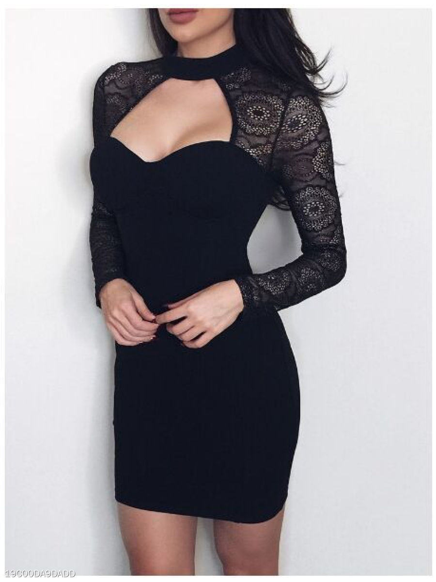Band Collar  Decorative Lace  Chain  Lace Bodycon Dress