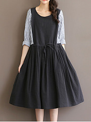 Round-Neck-Drawstring-Vertical-Striped-Skater-Dress