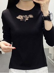 Round Neck  Patchwork  Plain Long Sleeve T-Shirts