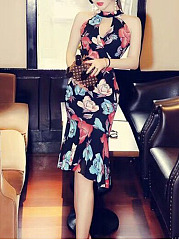 Mermaid Band Collar Keyhole Floral Printed Bodycon Dress