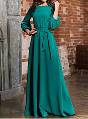 Round Neck  Belt  Plain Maxi Dress
