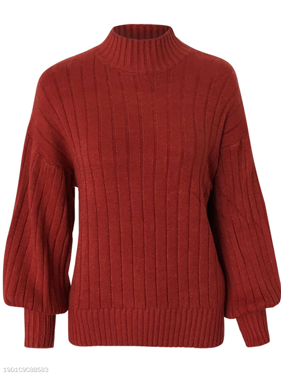 High Neck  Plain  Long Sleeve Sweaters Pullover