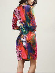 Hot Keyhole Multi-Color Printed Bodycon Dress