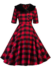 Lapel Vintage Plaid Half Sleeve Skater Dress