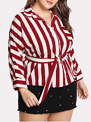 Turn Down Collar  Belt Loops  Striped  Long Sleeve Plus Size Blouses