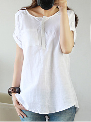 Round Neck  Patch Pocket  Plain Blouse