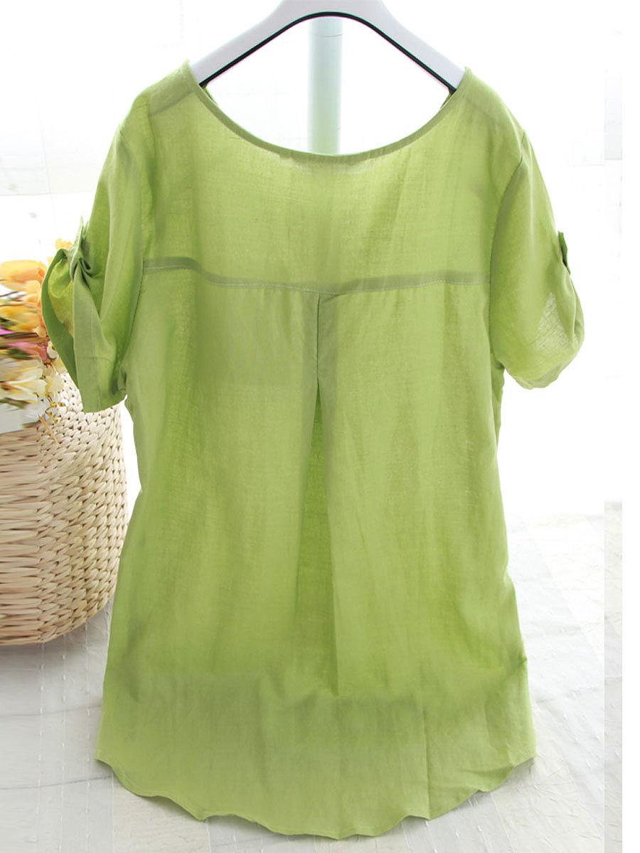 Summer  Cotton/Linen  Women  Round Neck  Patch Pocket  Plain  Short Sleeve Blouses