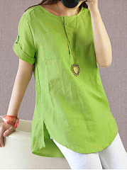 Summer  Cotton/Linen  Women  Round Neck  Patch Pocket  Plain  Short Sleeve Blouses