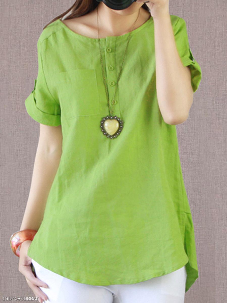 Summer Cotton Linen Women Round Neck Patch Pocket Plain Short Sleeve