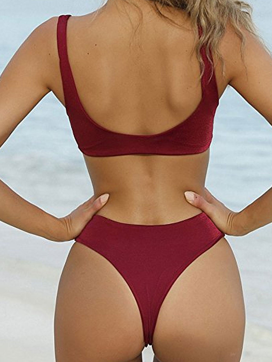 Plain And Sexy High-Rise Bikini For Women