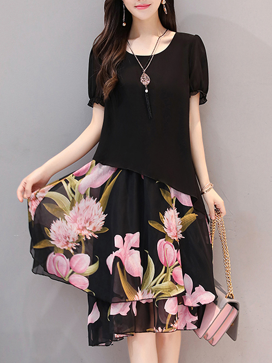 Floral Printed Round Neck Chiffon Skater Dress