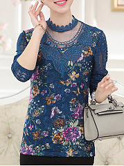Autumn Spring Winter  Lace  Women  High Neck  Decorative Lace  Floral Lace Long Sleeve T-Shirts