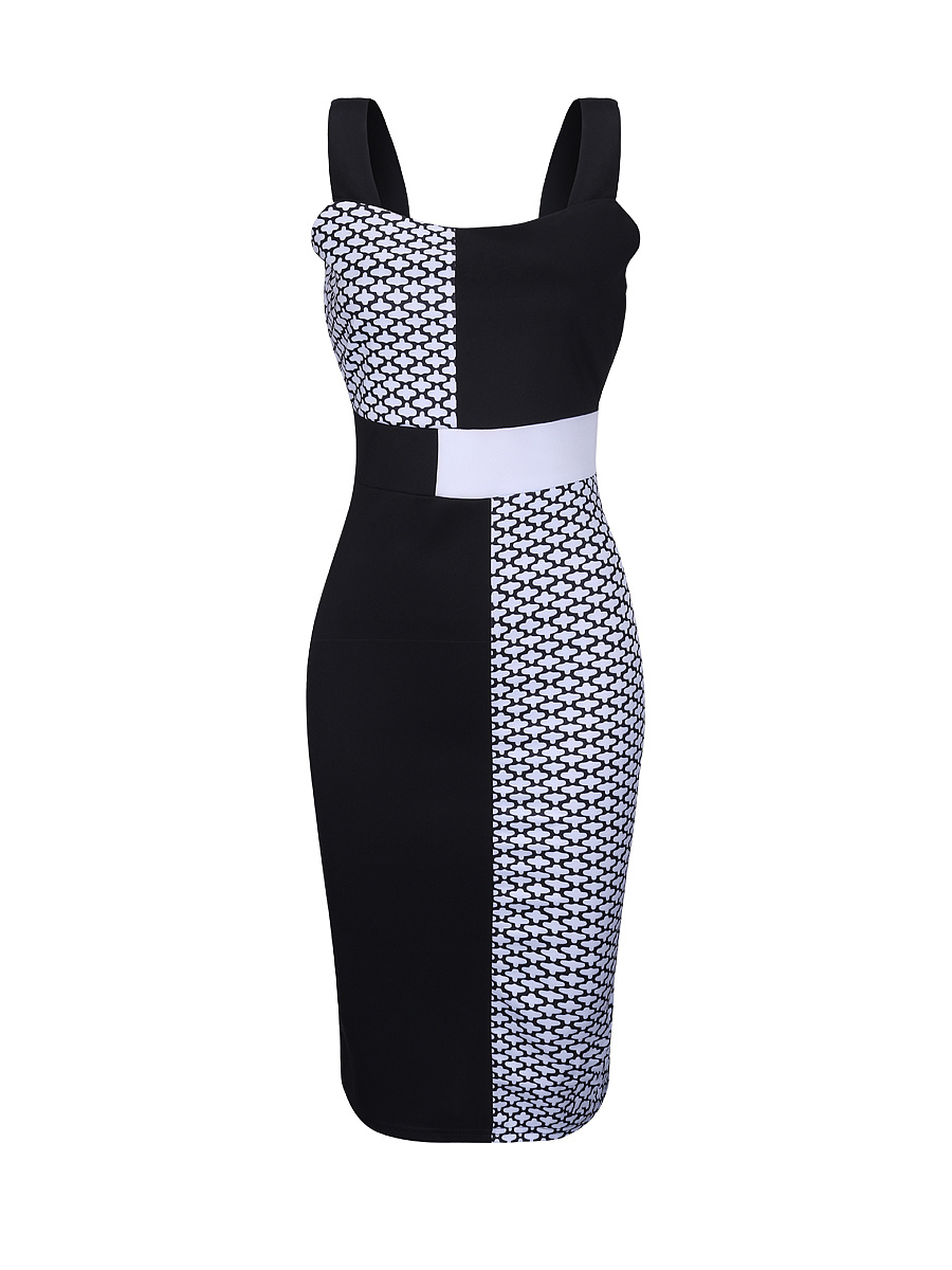 Courtly Black White Square Neck Printed Bodycon Dress